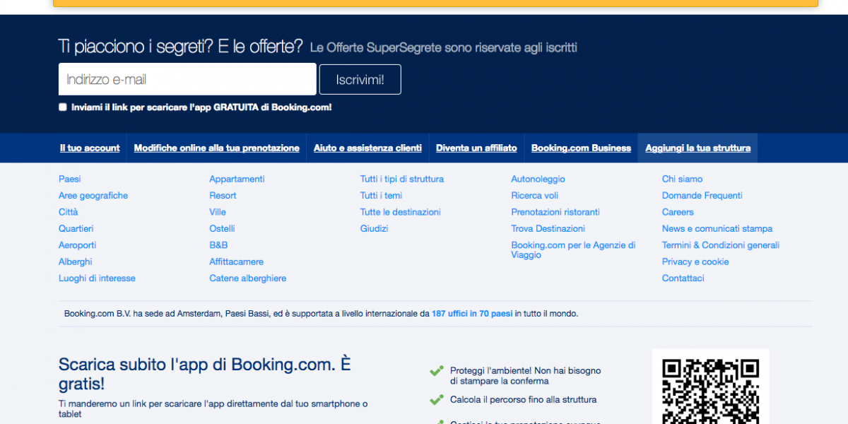 Come registrarsi e accedere a Booking